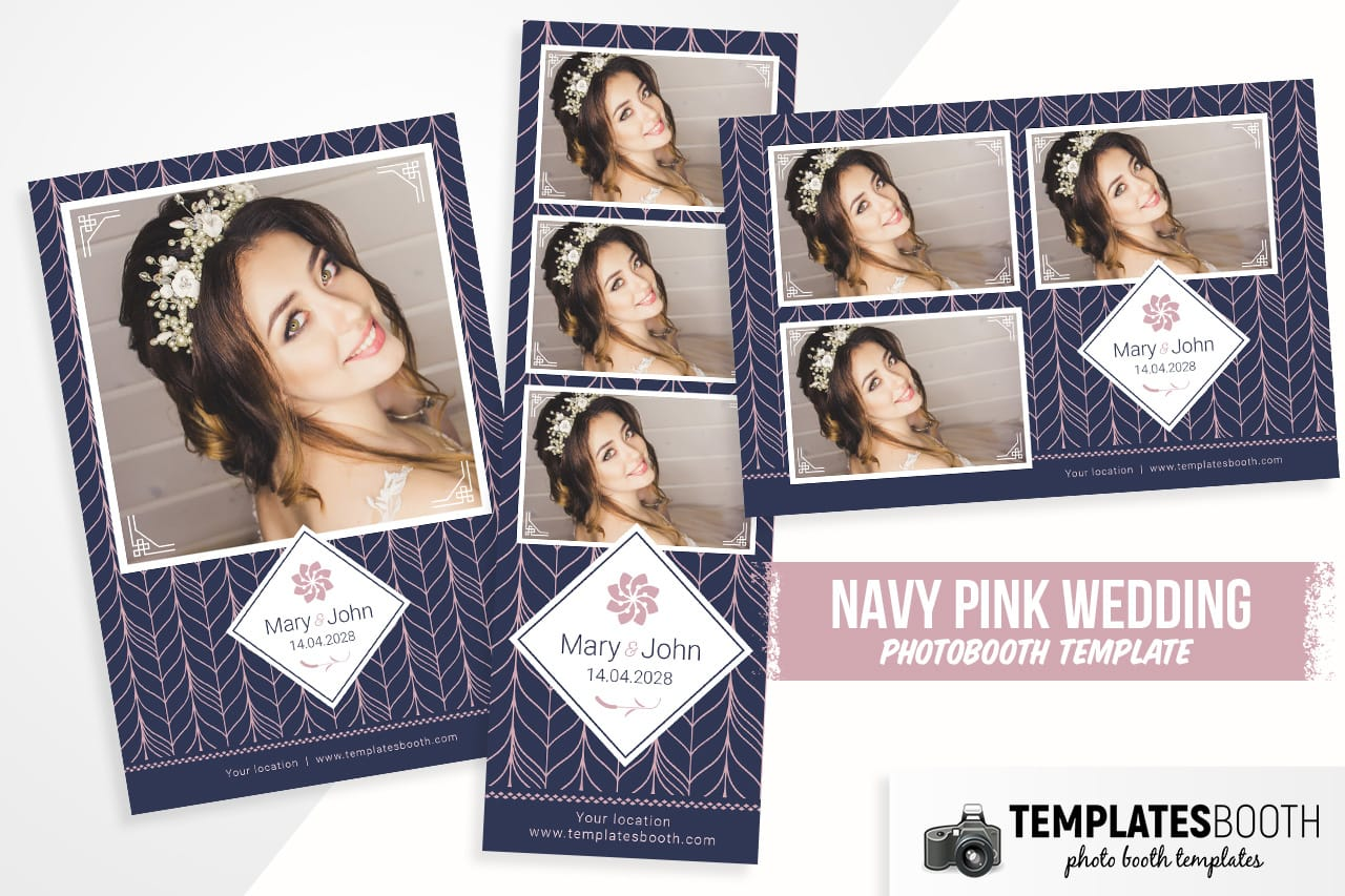 navy pink wedding photo booth template