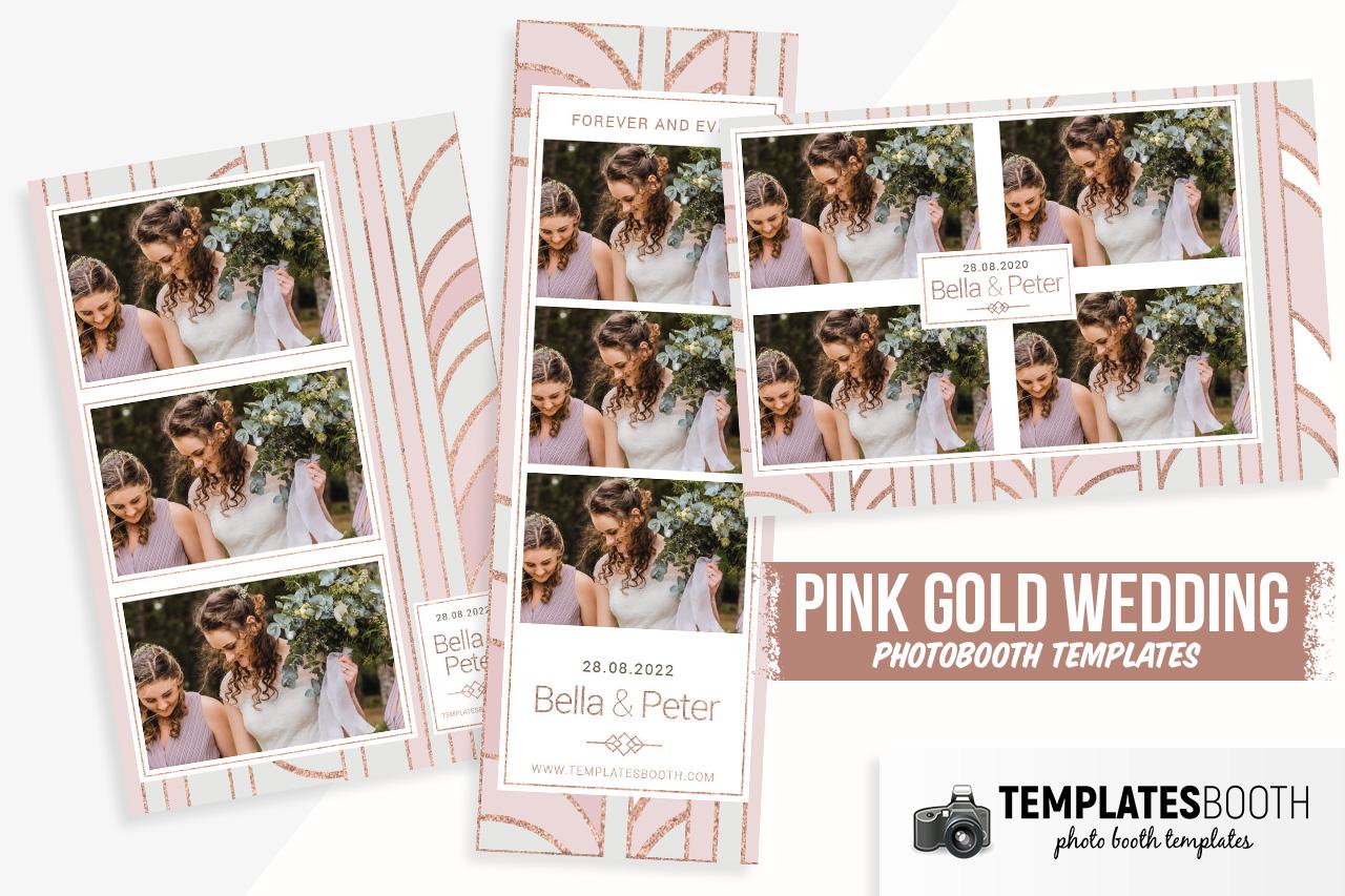 pink gold wedding photobooth templates