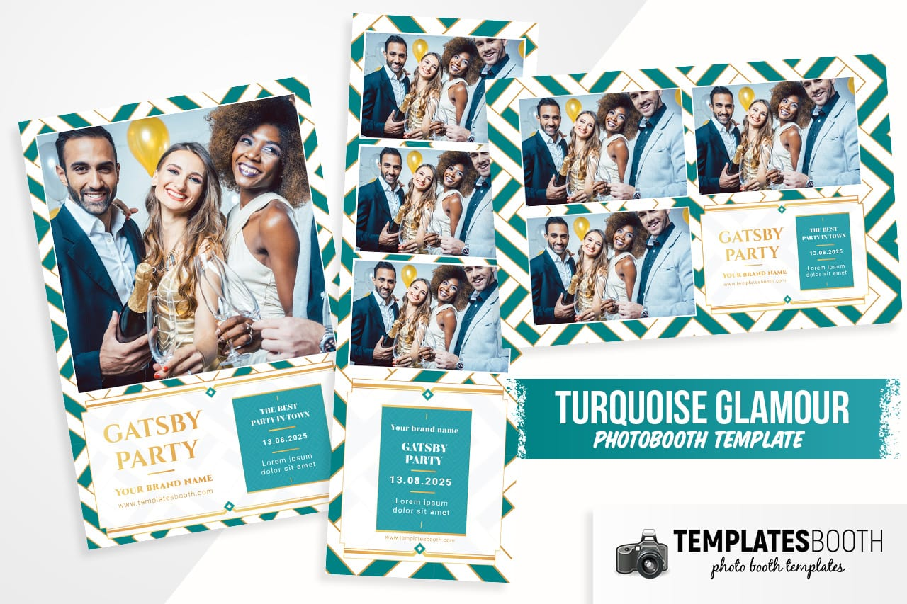 turquoise glamour photo booth template psd