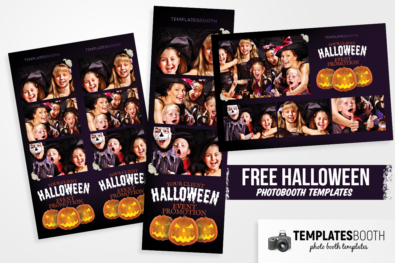 free halloween photo booth design template psd