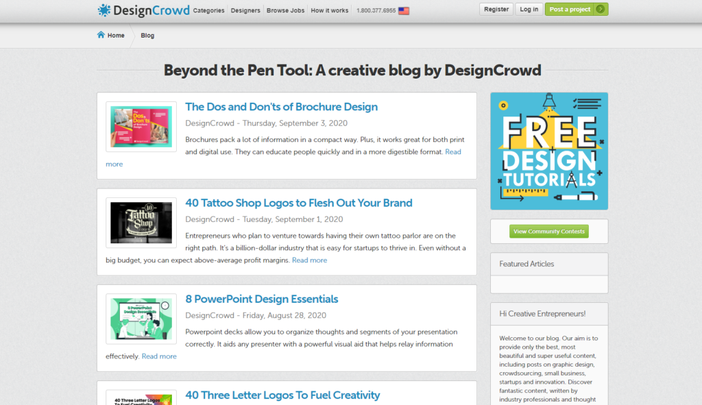 design crowd blog page