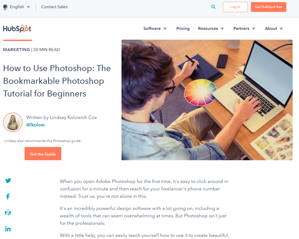 hubspot photoshop blog guide