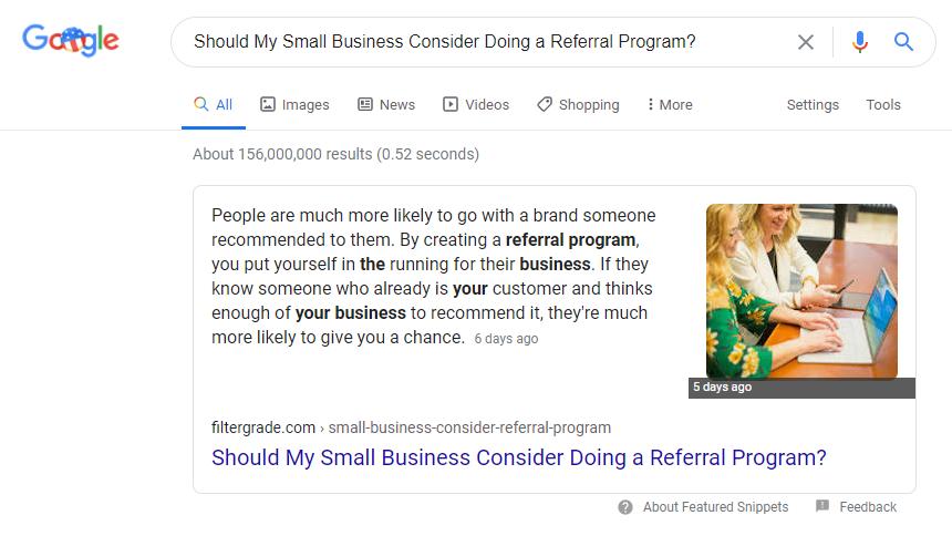 filtergrade featured snippet google marketing trends