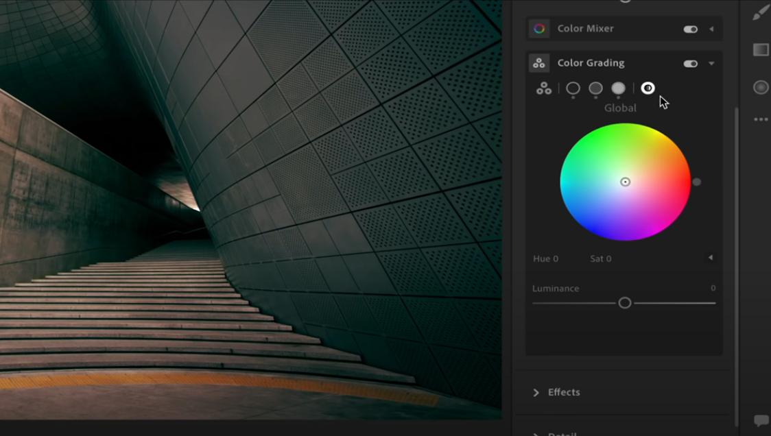color grading wheel lightroom