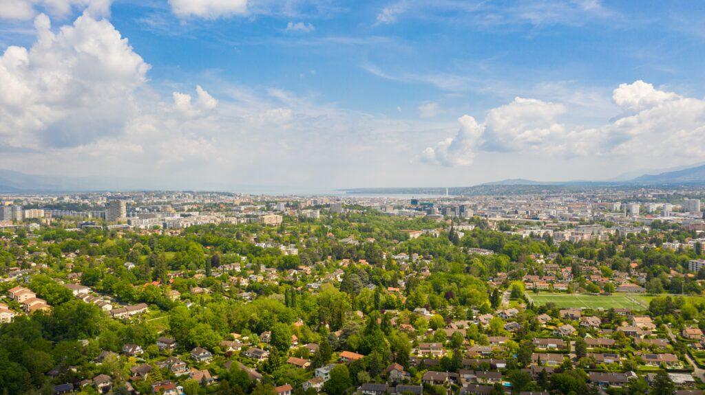 aerial image sunny day geneva