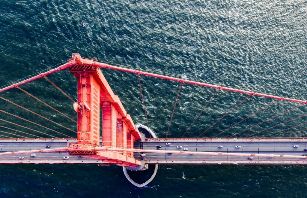 golden gate bridge from above