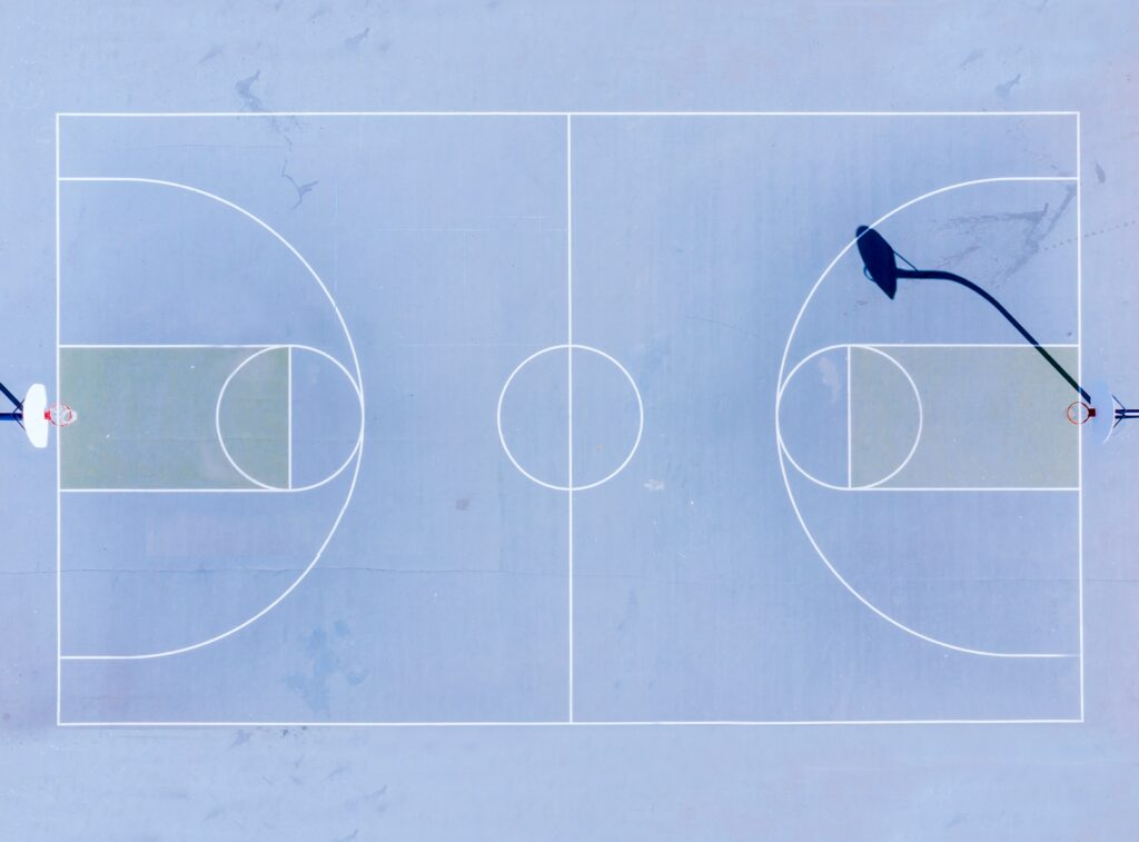drone photo basketball court