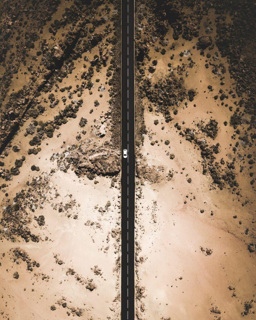 aerial photography desert road