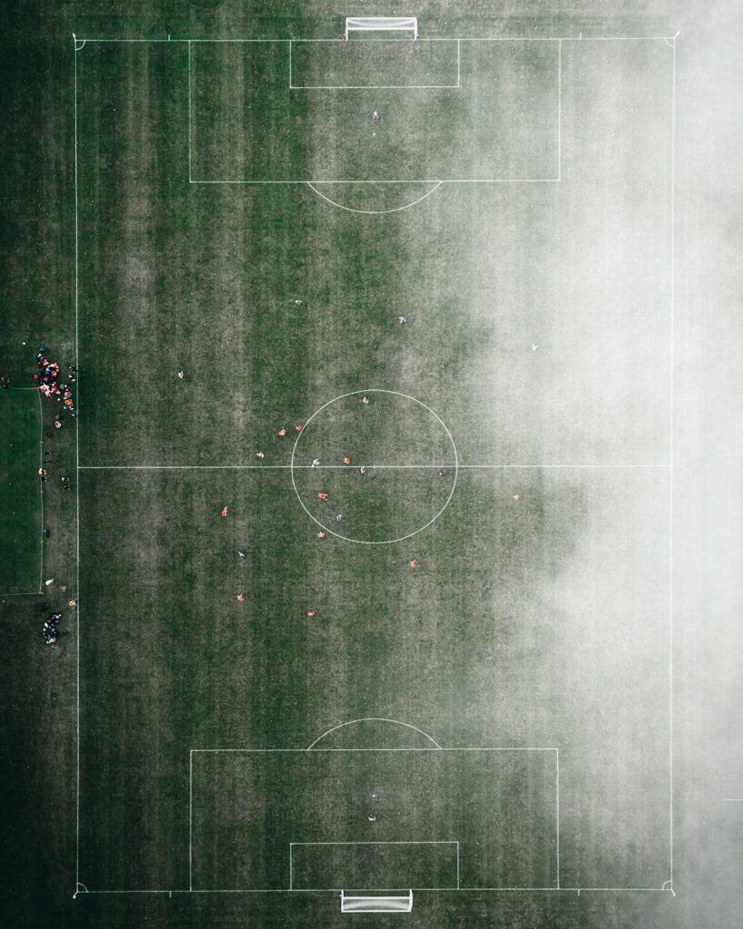 drone image foggy soccer field