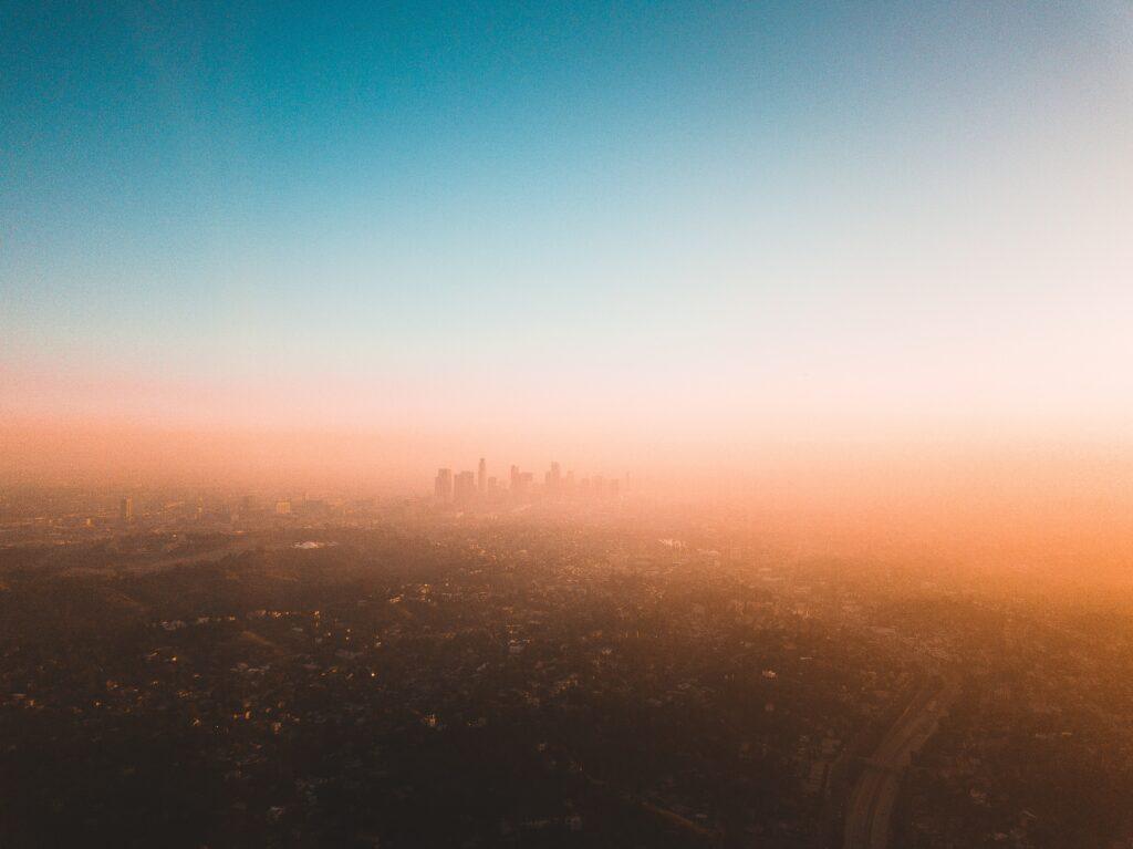 drone photograph blue and orange skyline