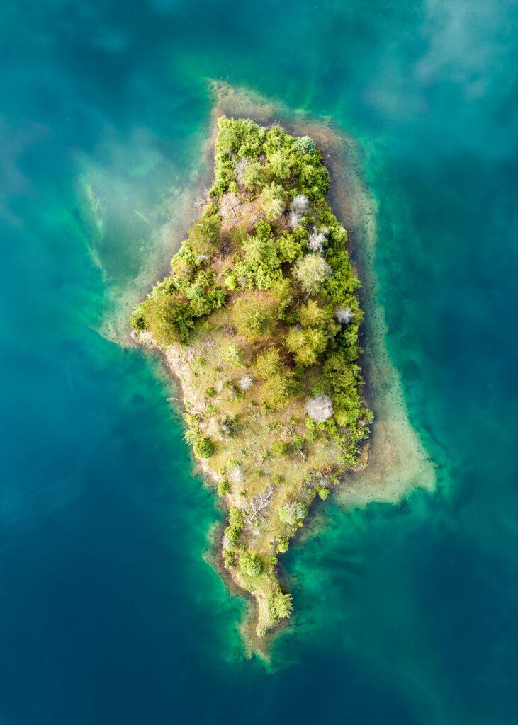 photo straight-down tropical island