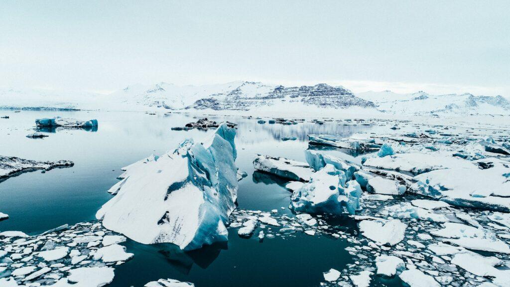 snowy iceland drone photo