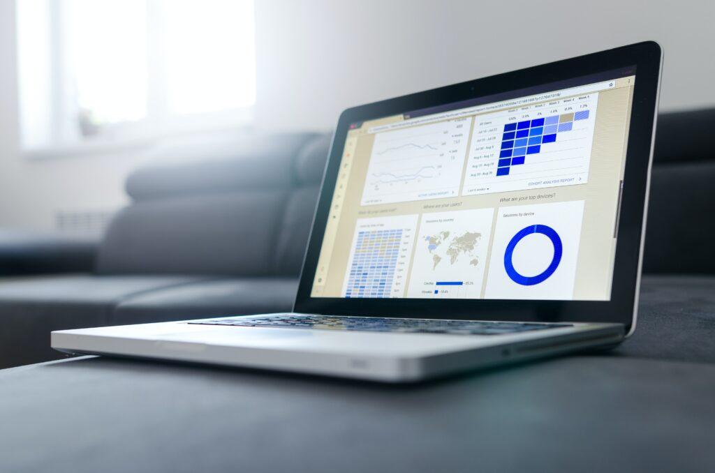 data metrics on laptop screen