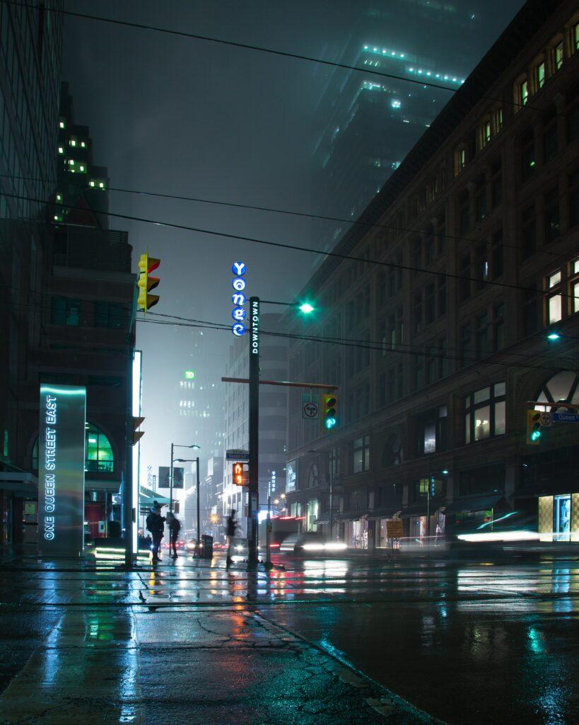 grungy street photo rainy night in toronto