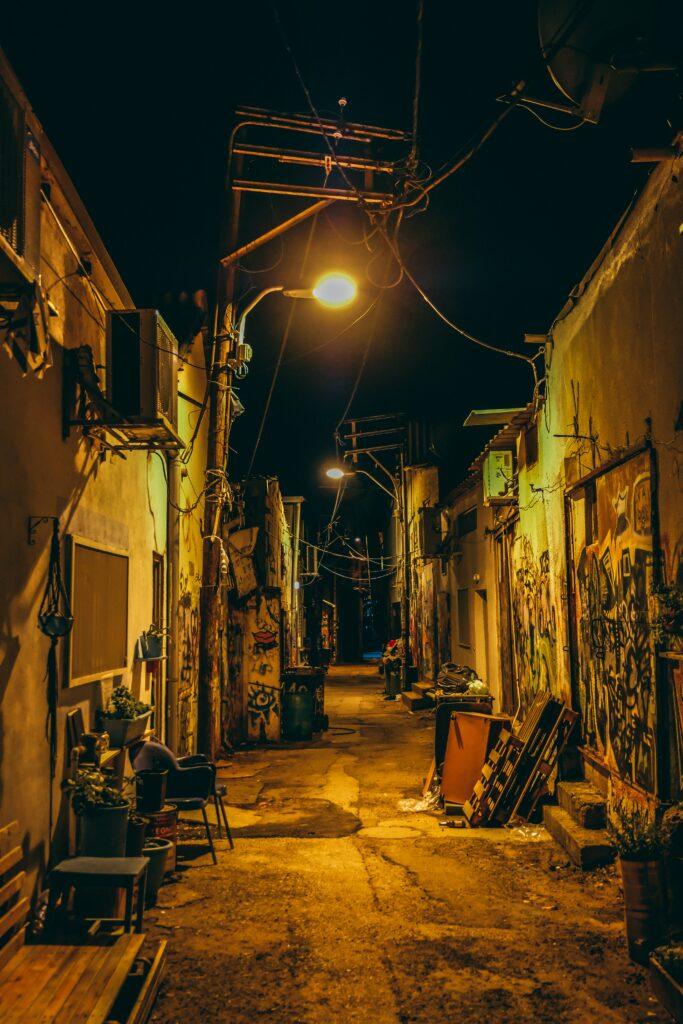grungy street photo graffiti alley