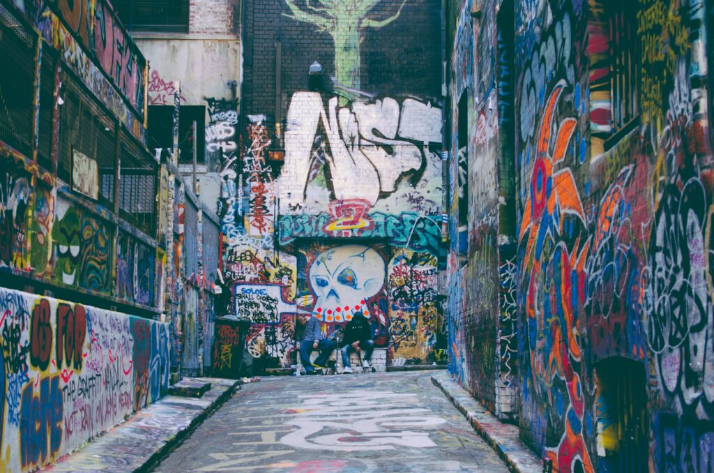 grungy street photo graffiti alley melbourne australia