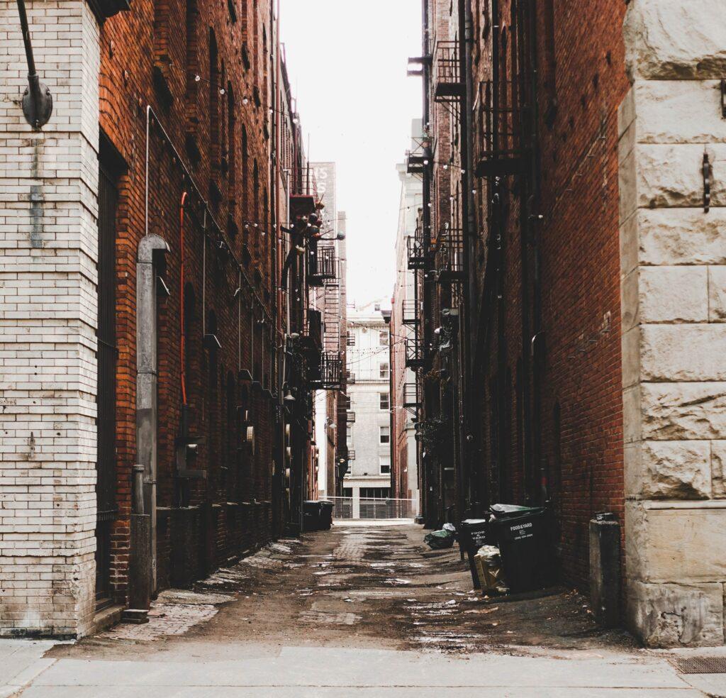 grungy street photo brick alley