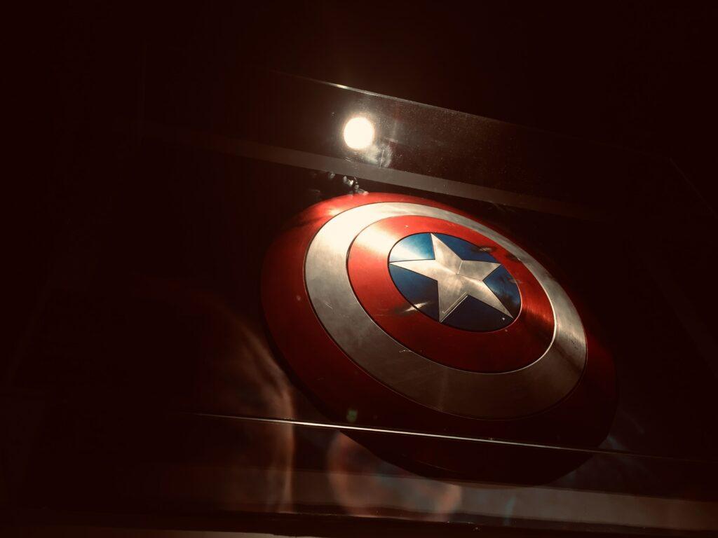 captain america shield in display case